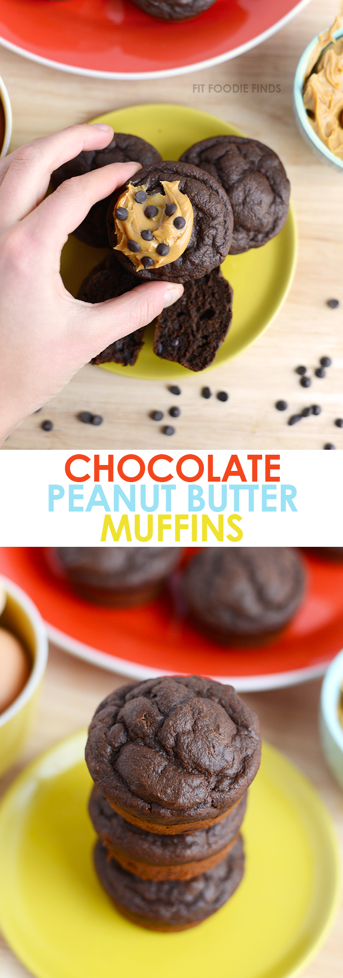 Make these healthy chocolate peanut butter muffins for a 100% whole-grain, no refined-sugar added snack or treat! They're gluten-free and 171 calories!