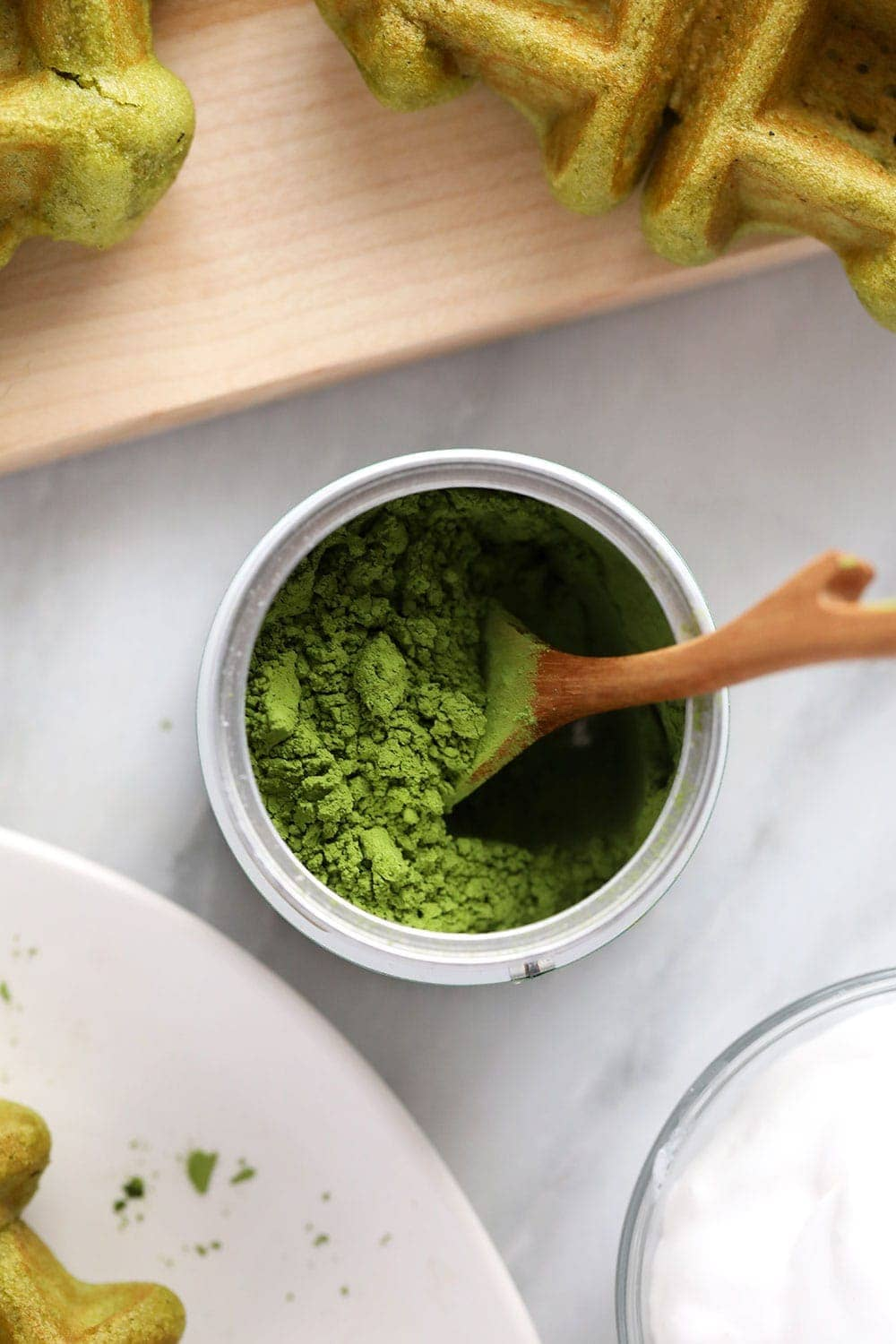 can of matcha powder