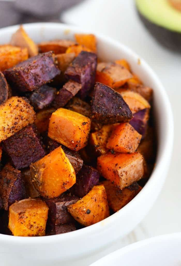 roasted sweet potatoes for crockpot chicken taco bowls