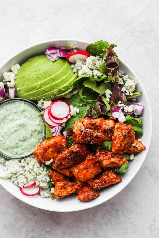 Sriracha chicken salad in a bowl