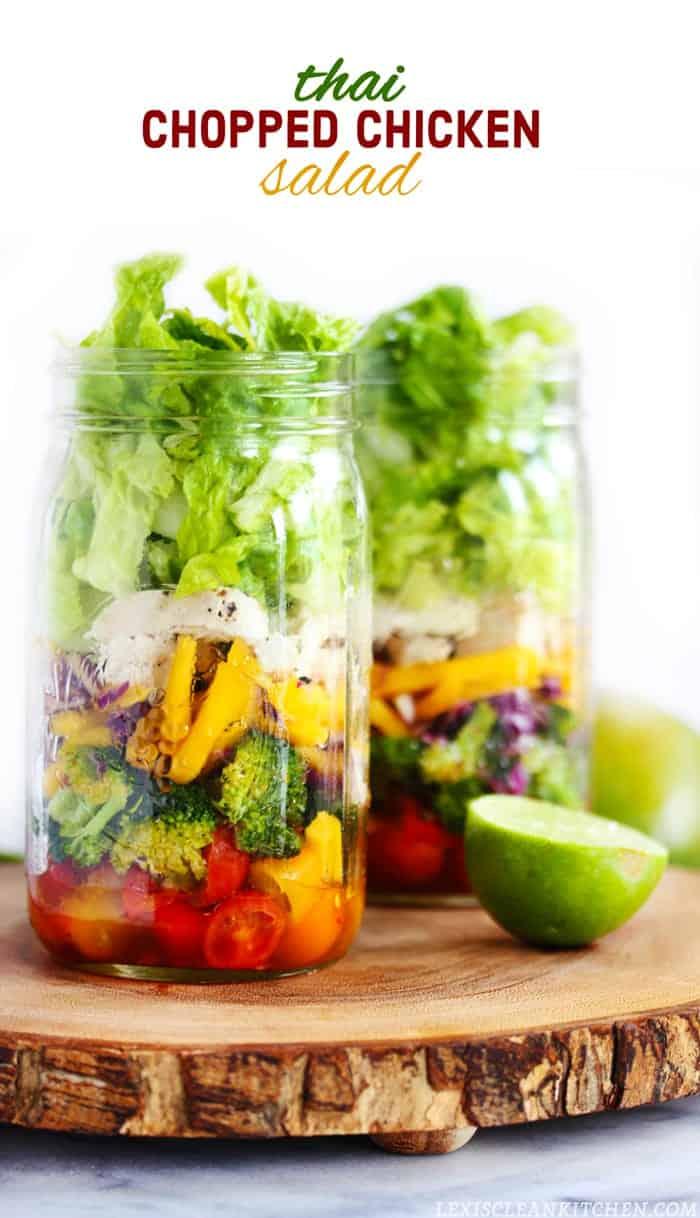 Thai Chopped Chicken Salad + More Salad in a Jar Recipes!