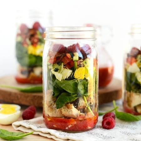 Spring Cobb Salad with Raspberry Basil Vinaigrette + Mason Jar Salad Recipes