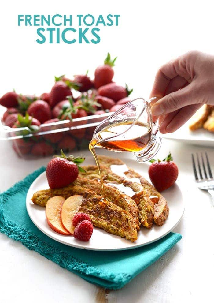 pouring maple syrup on french toast sticks