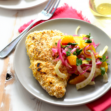 Make this Matzoh-Crusted Chicken paired with a colorful, seasonal salad for a delicious, 30-minute meal thats crunchy, filling, and healthy!