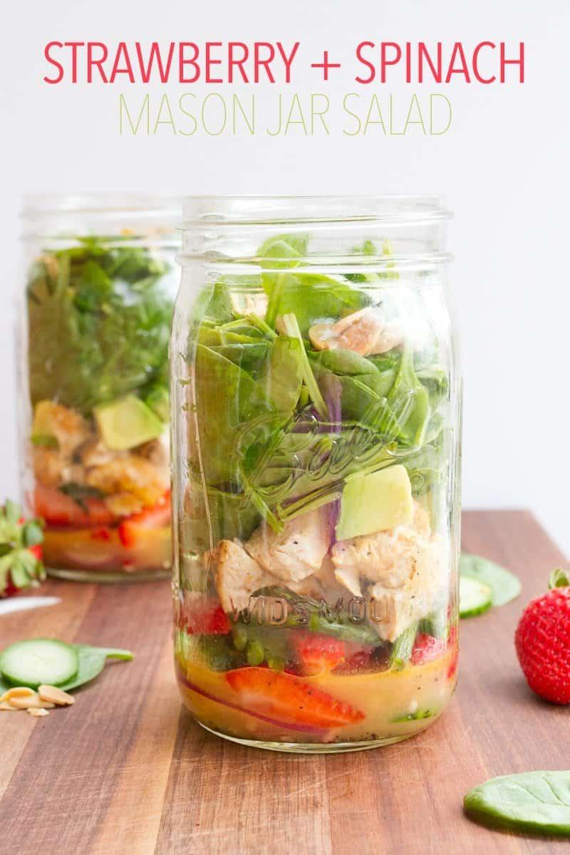 Strawberry Spinach Mason Jar Salad + More Salad in a Jar Recipes!