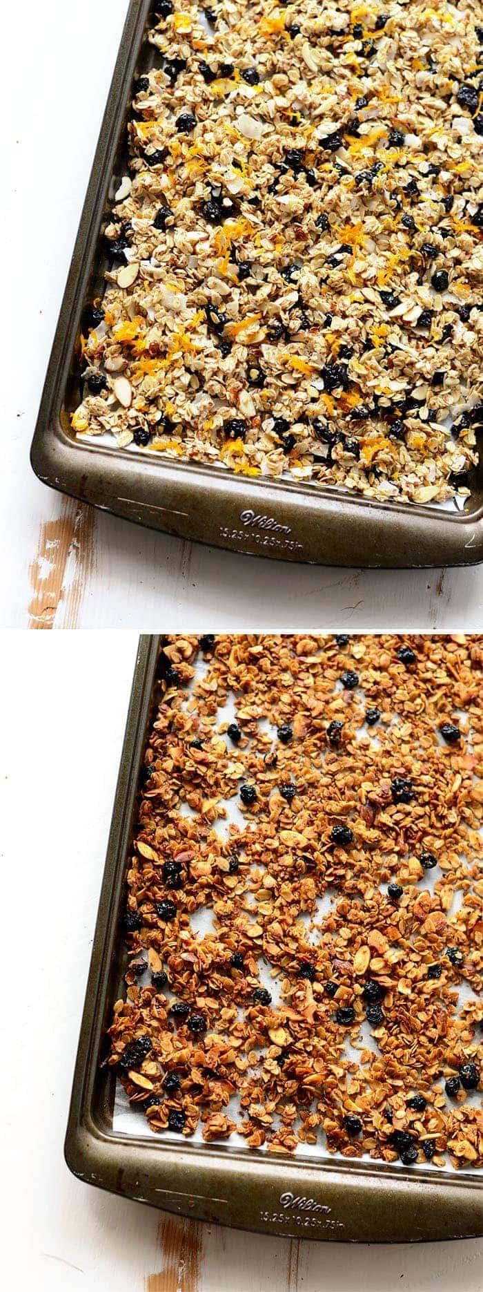 Before and after baking granola