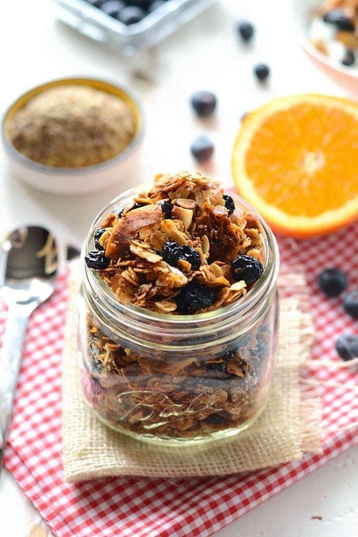 Blueberry Orange Granola in a jar