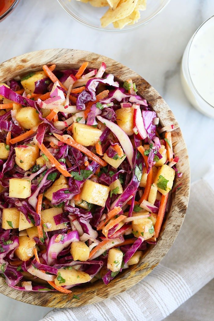 Pineapple Coleslaw in a bowl