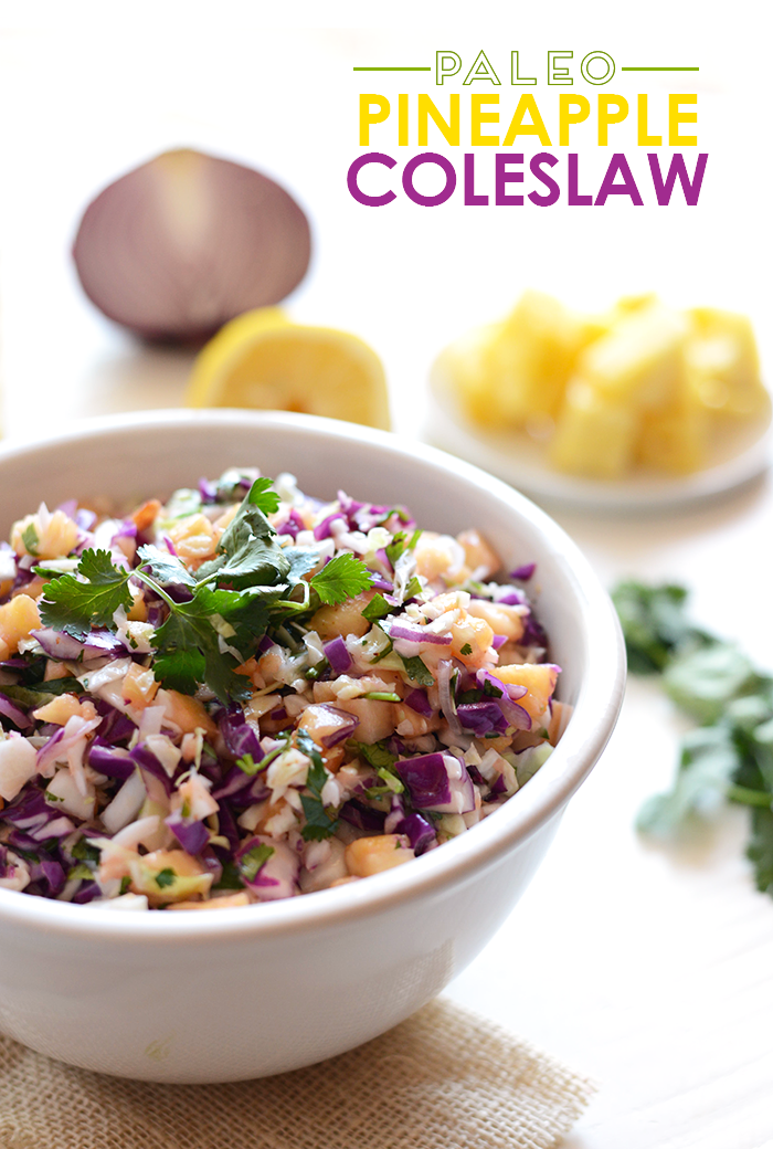 This clean-eating, paleo coleslaw is made with homemade mayo, a mixture of delicious and colorful vegetables and a pop of pineapple for sweetness!