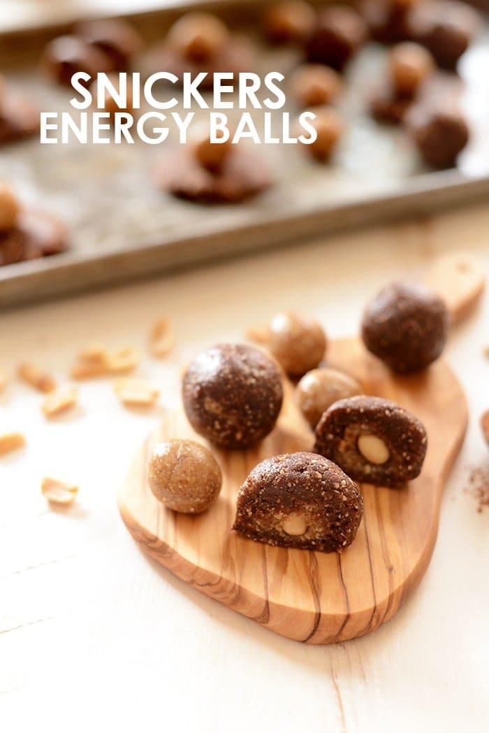 energy balls on a cutting board