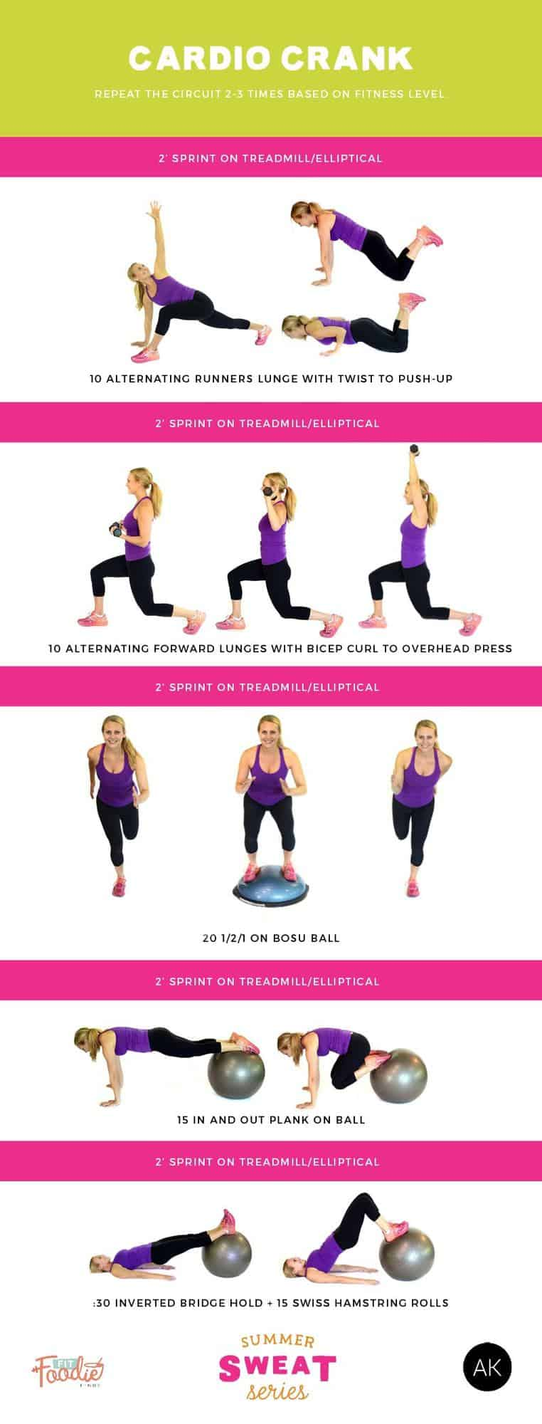 Torch Calories with this Cardio Workout that combines 2 minute sprint intervals and full-body strength exercises!