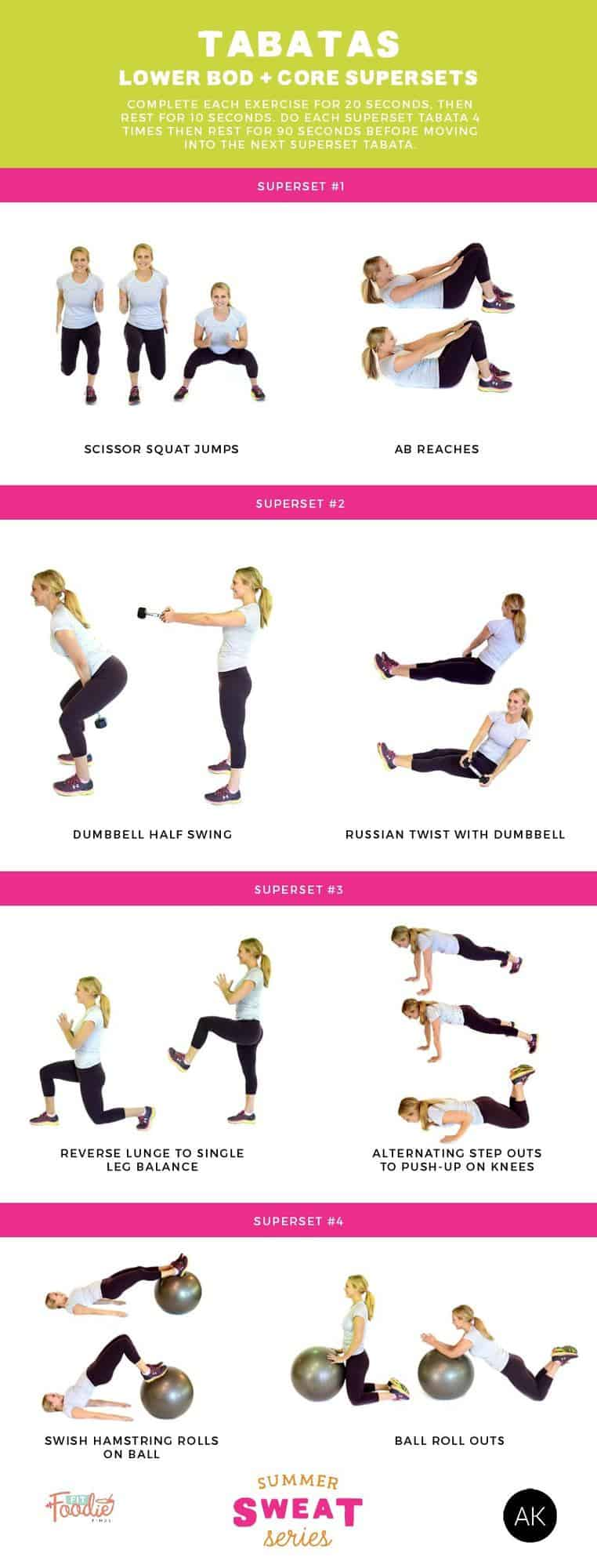 Want a quick yet effective workout? Do tabatas! This workout mixes lower body and core superset exercises and will get your heart pounding!