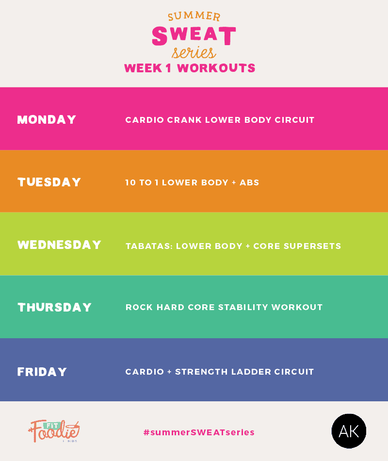 Summer SWEAT Series: Fitness Plan Week 1- here's 5 workouts to get your butt into shape this summer! The theme is cardio + lower body. Play hard and have fun!