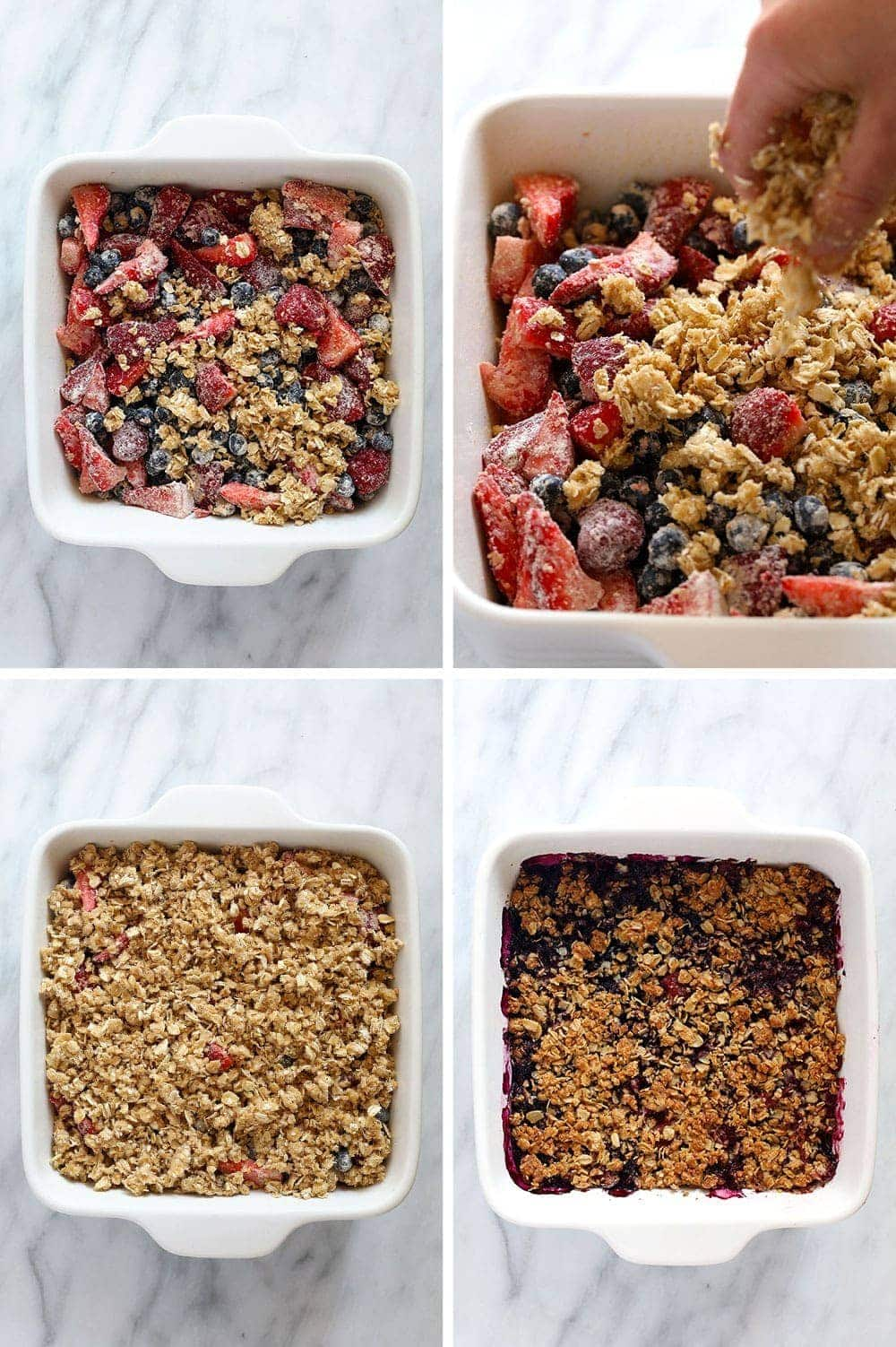 process photos preparing the berry crisp in a white dish