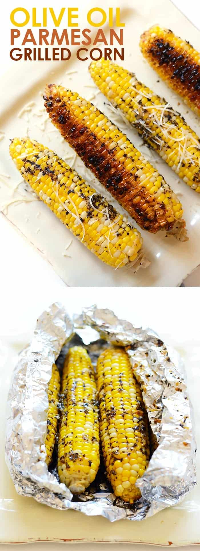 Fully cooked olive oil parmesan grilled corn.