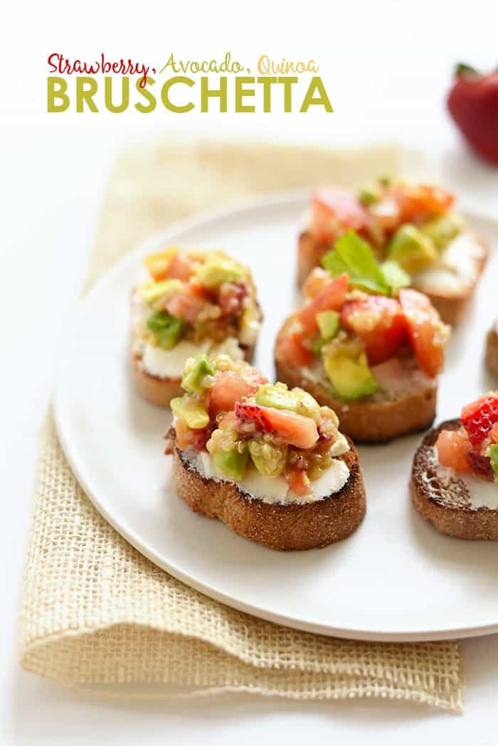 Get creative with your summer bruschetta recipe. Top a grilled piece of baguette with goat cheese and your favorite quinoa salad for a delicious warm-weather app!