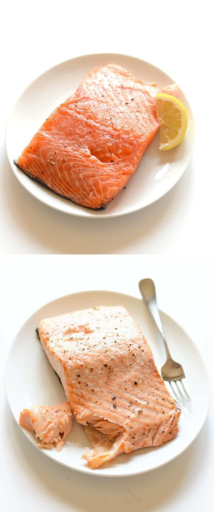 raw and cooked slice of salmon