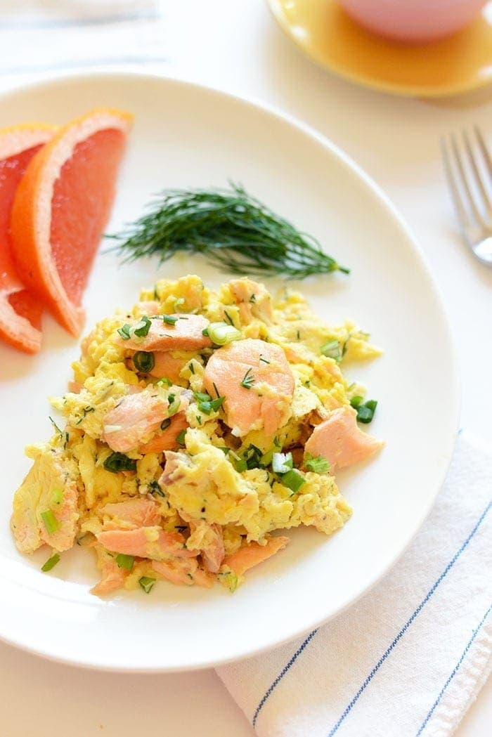 eggs and salmon on plate