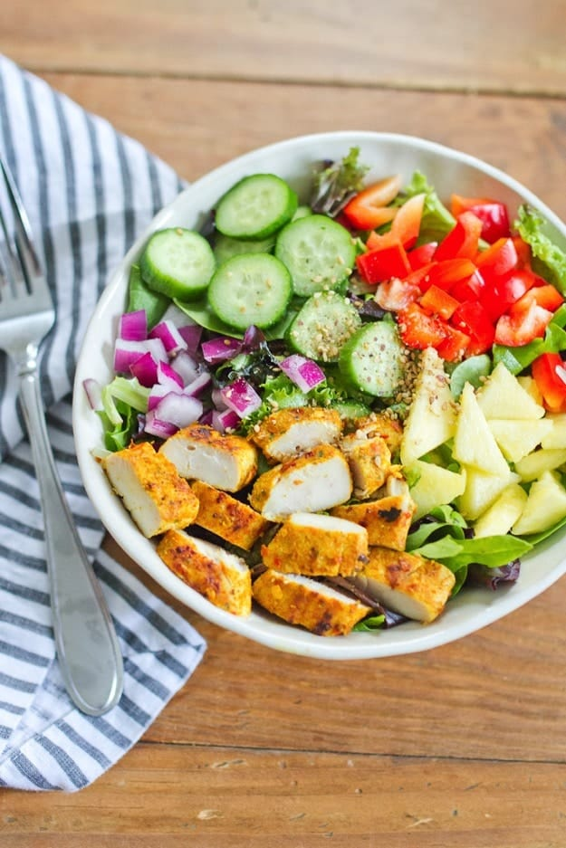 Make one of these protein packed salad recipes for a delicious and healthy meal that will keep you fuller! -FitFoodieFinds.com #healthy