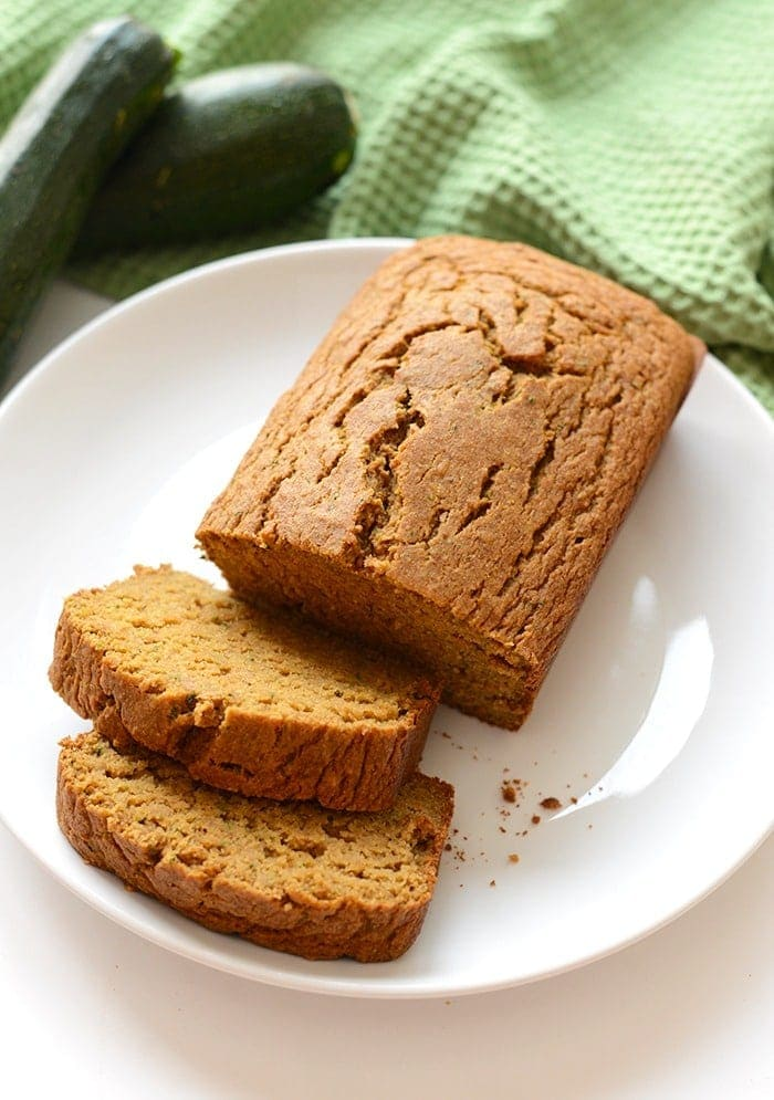 a loaf of zucchini bread on plate