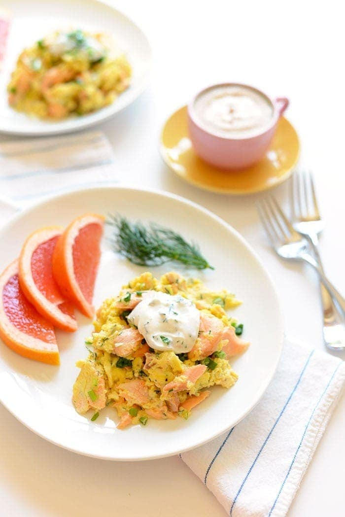 Salmon scrambled eggs on plate