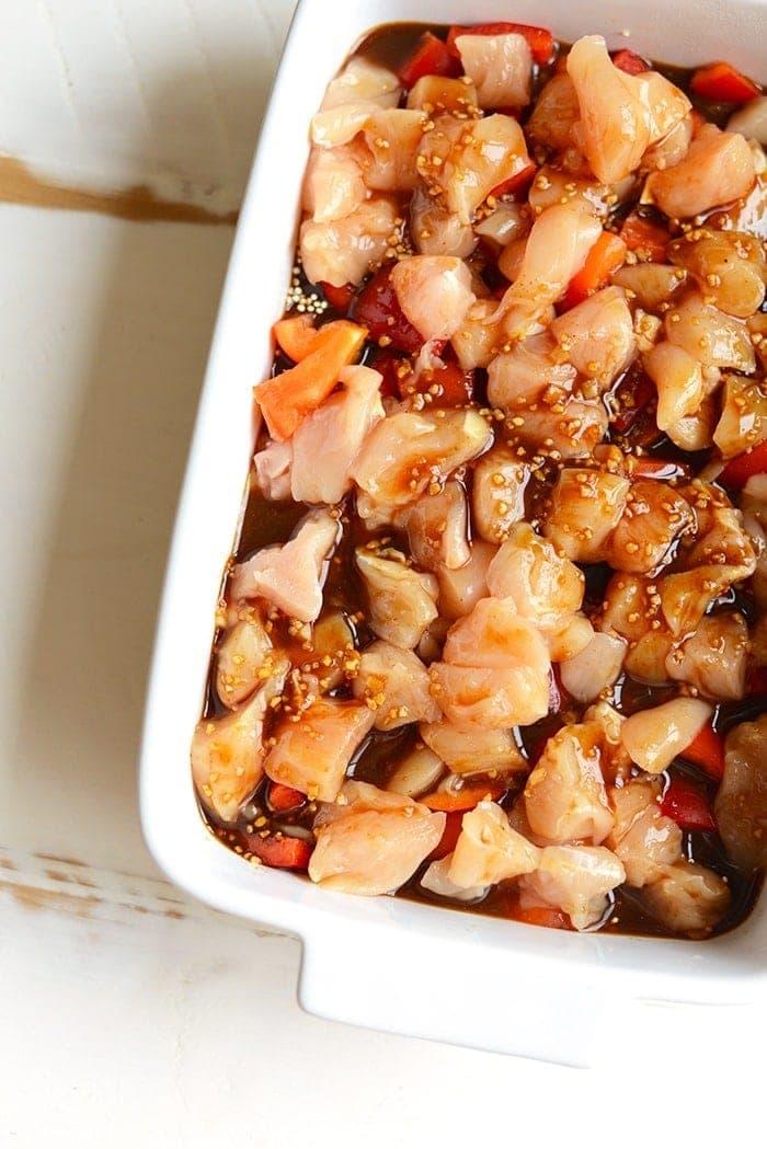cashew chicken casserole in a casserole dish