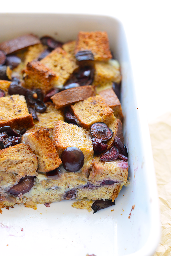 It's cherry season and time to spruce up a classic breakfast! Make this cherry french toast bake for an easy morning casserole the whole family will love!