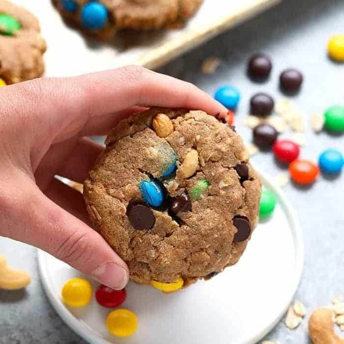 These healthy monster cookies are made with 100% whole grains, all-natural peanut butter, and your favorite monster cookie add-ins. Best part? These are vegan cookies made with a flax egg to make them egg and dairy-free!