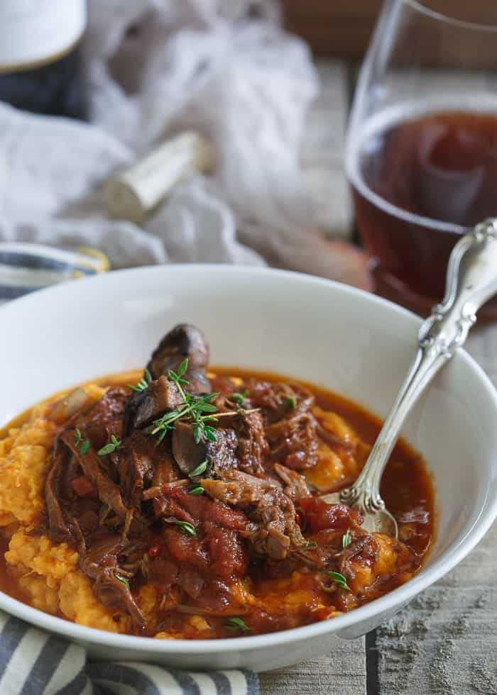 Serve it over mashed sweet potatoes or toss it with pasta! Either way this slow cooker short rib ragu is the perfect comfort food as the weather gets cooler.