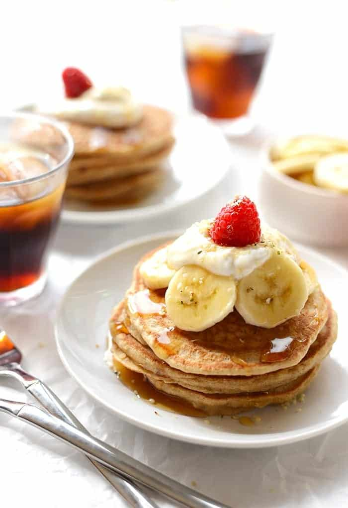 Start your morning with a stack of 100% whole grain banana pancakes made with real ingredients. Don't forget to top them with fresh fruit and Greek yogurt!
