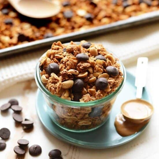 peanut butter cup granola in a jar