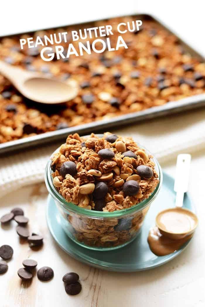 peanut butter cup granola in a jar