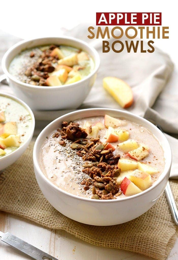 apple pie smoothie bowl with toppings