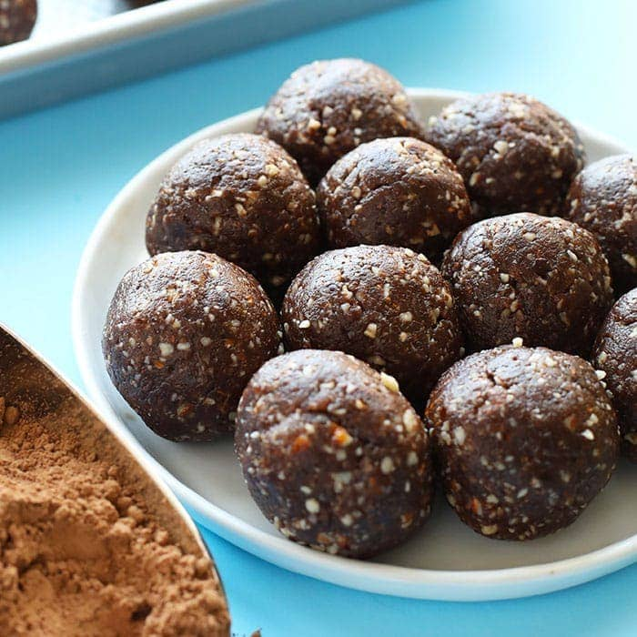 peanut butter brownie energy balls on a plate
