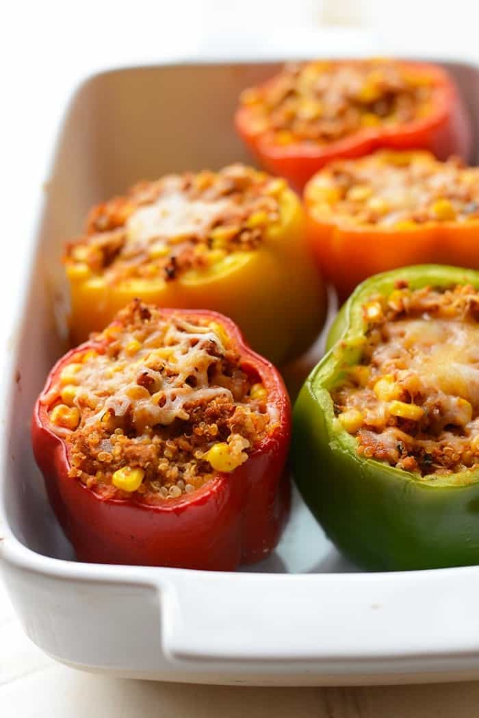 Mexican stuffed peppers in a baking dish
