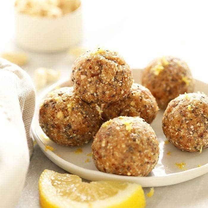 healthy lemon cheesecake energy balls