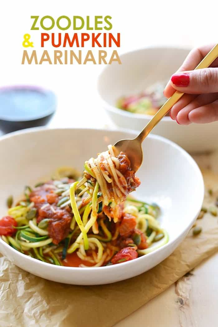 Got 30 minutes? Spiralize some zucchini and top them with a delicious pumpkin marinara for a meatless meal the whole family will love!