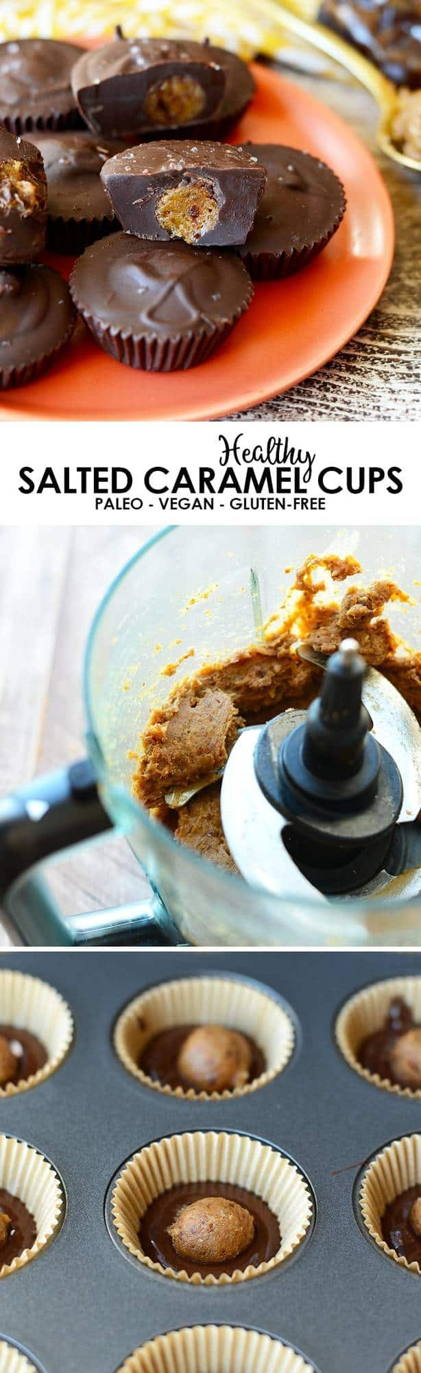 Healthy Salted Caramel Cups, it's a real thing! All you need are 4 simple ingredients to make this decadent dessert that's paleo and vegan-friendly!