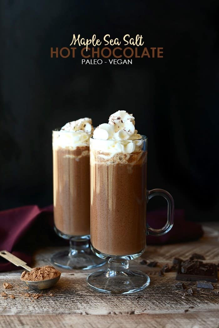 Lighten up and flavor up your hot chocolate with this delicious Maple Sea Salt Hot Chocolate. It's paleo, vegan, and made with just 5 ingredients!