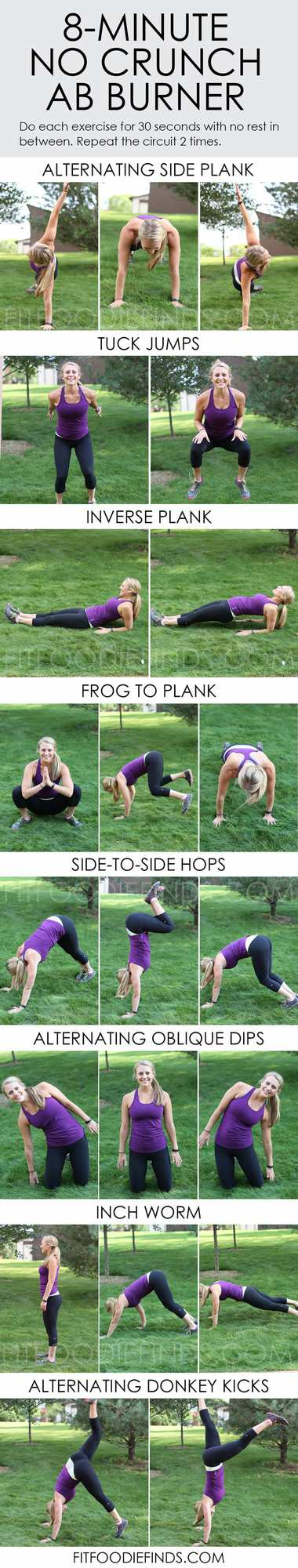 Got 8 minutes? End your workout with this challenging ab workout that doesn't include any classic crunches!