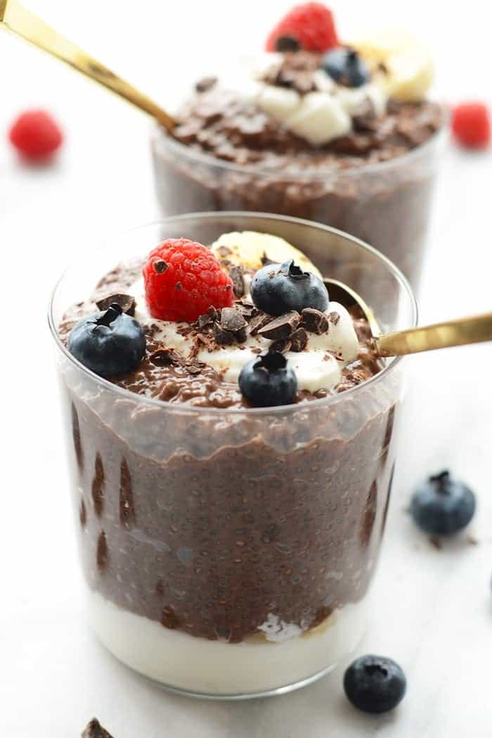 chocolate chia seed pudding in a cup