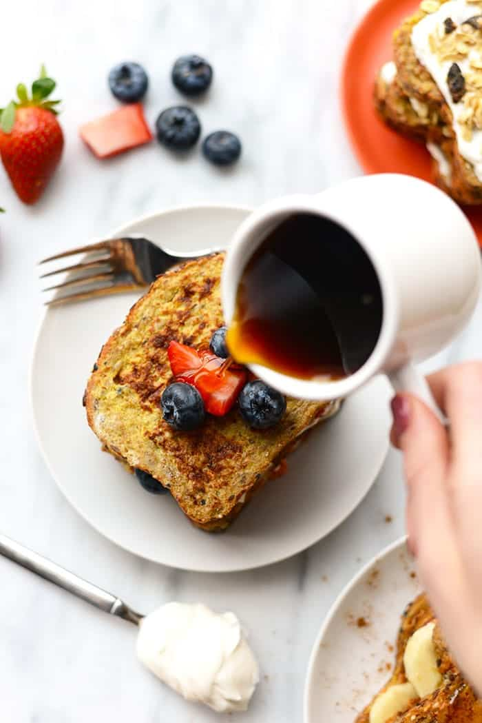 Have fun with your french toast and stuff it with your favorite fruit, nut butter, and everything in between for a filling breakfast packed with nutrition.