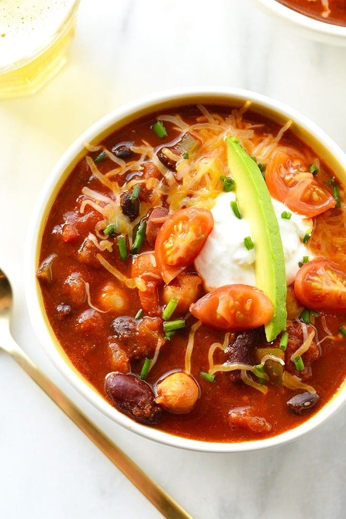 Vegetarian beer chili in a bowl
