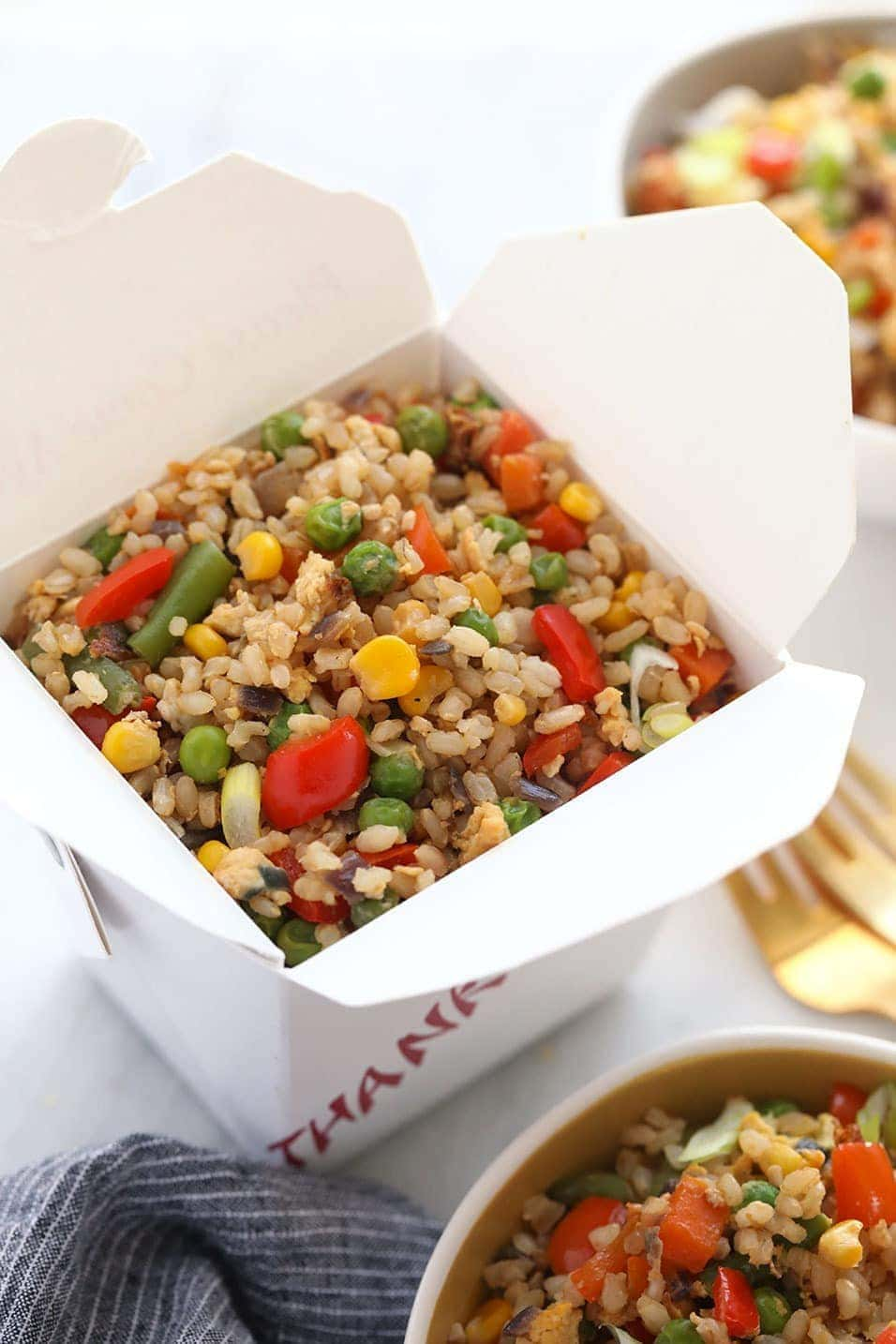 Fried rice in a take out container