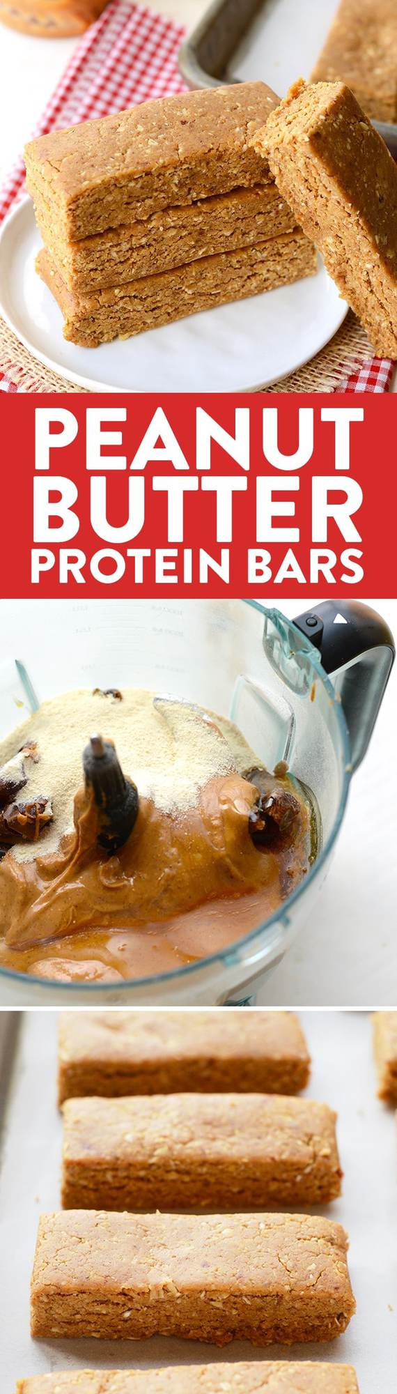 With just a few simple ingredients you can make peanut butter protein bars in your own kitchen with 13g protein in each bar!