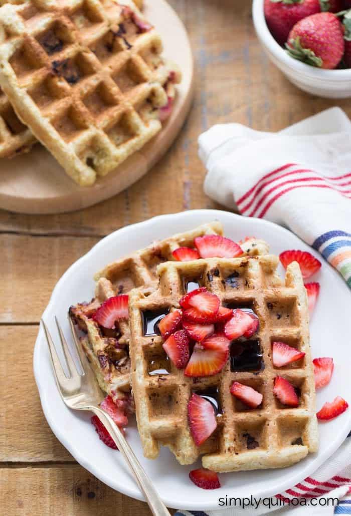 Strawberry Banana Quinoa Waffles