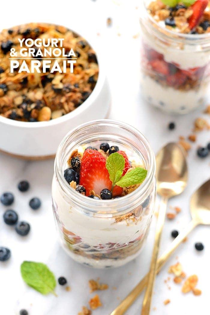 Yogurt and Granola Parfait - Layer up Greek yogurt, fresh berries, and your favorite homemade granola for the simplest mason jar parfait breakfast!