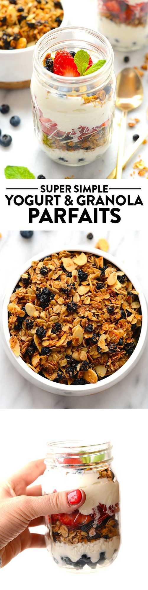 Layer up Greek yogurt, fresh berries, and your favorite homemade granola for the simplest mason jar parfait breakfast!
