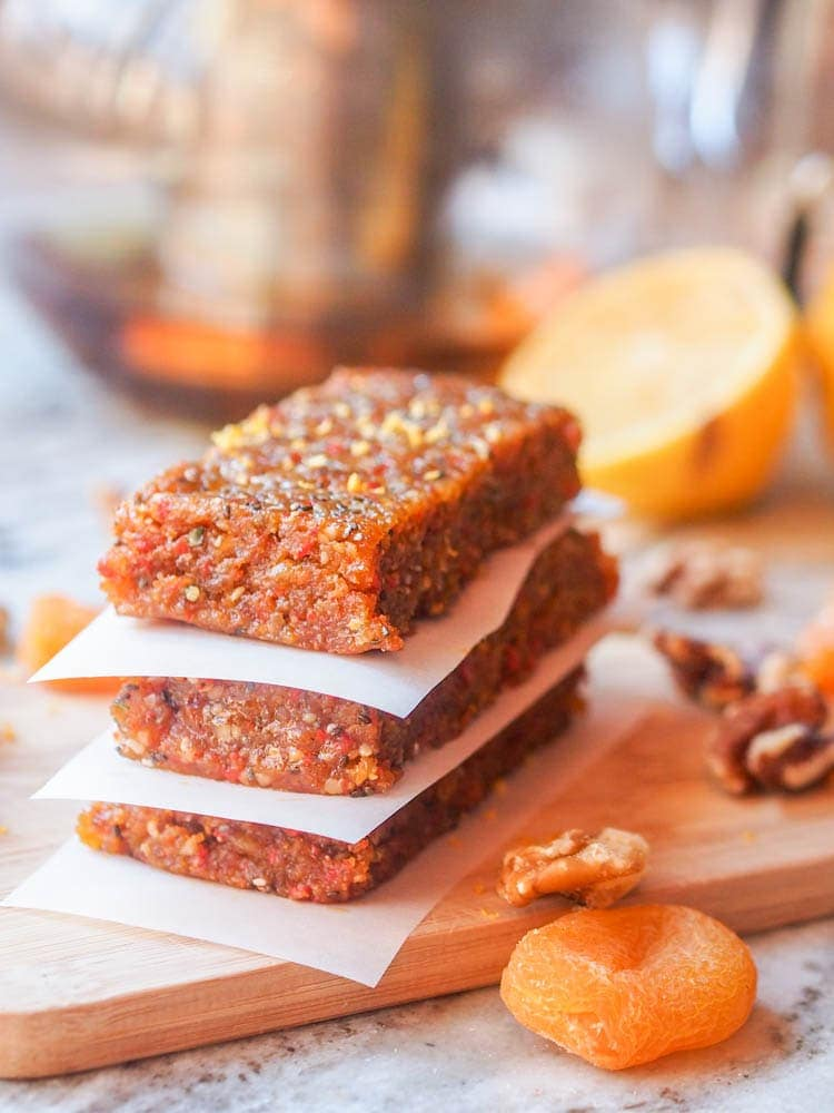 Apricot Energy Bars packed full of healthy vitamins and nutrients and made with just 7 ingredients! Perfect for taking with you on the go or as a quick breakfast or afternoon snack. Ready in 20 minutes. Gluten Free.