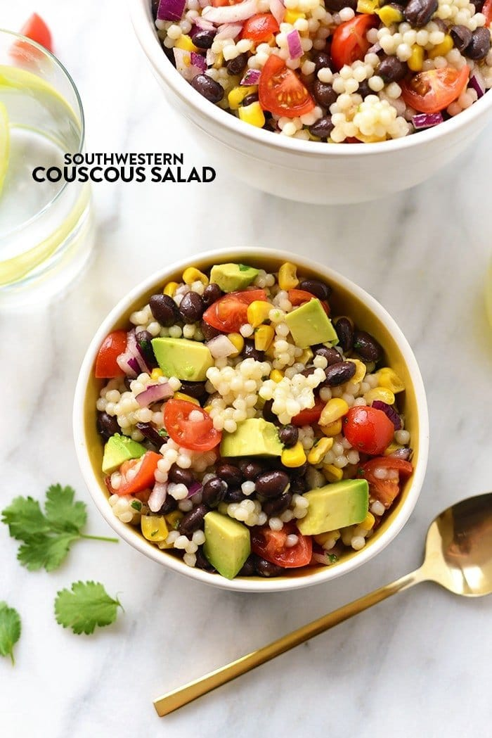 Southwestern Black Bean Couscous Salad in 2 bowls